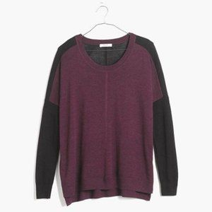 Madewell Black Purple Merino Wool Sweater - Sz S